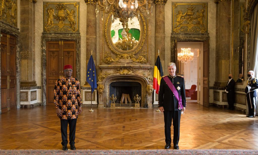 Amb. Onowu presents Letters of Credence to Belgian King